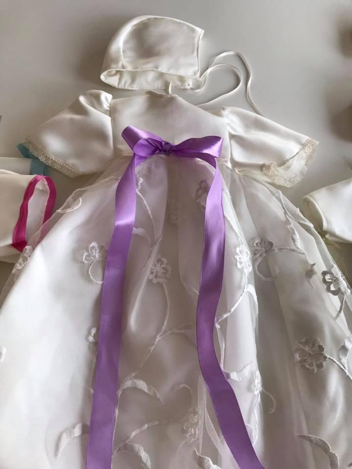 Dopklänning lila band